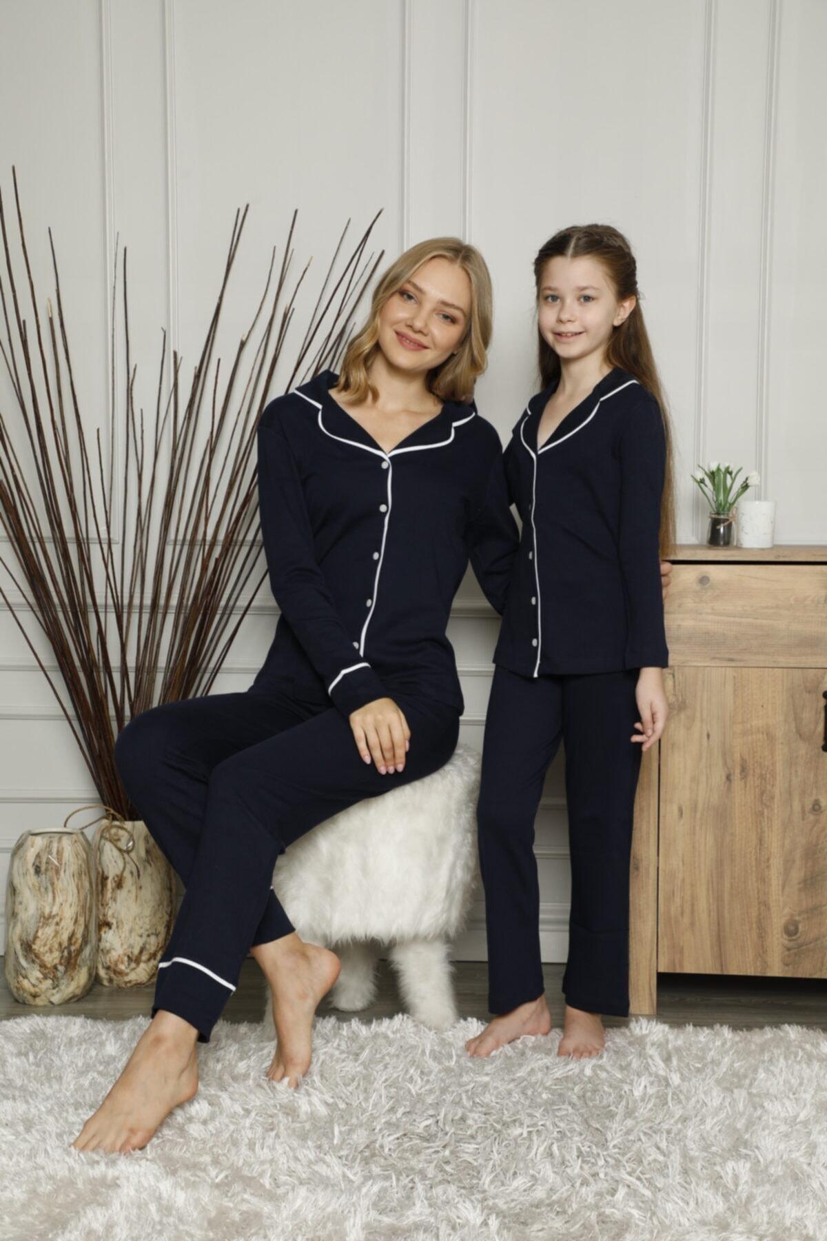 KILIÇ TEKSTİL Anne Kız Pijama Takımı Kombini Interlok Kumaş 2