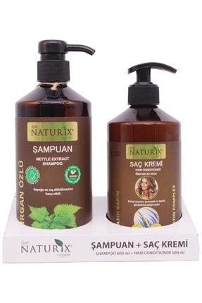 Naturix 2'li Doğal Isırgan Isırgan Otu Şampuanı 600 ml Saç Bakım Şampuanı 500 ml Keratin Bakım Saç Kremi