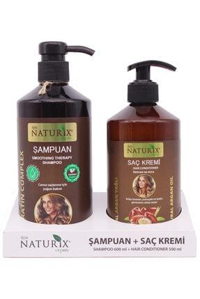 Naturix 2'li 600 ml Doğal Keratin Bakım Şampuan   500 ml Argan Yağlı Saç Kremi
