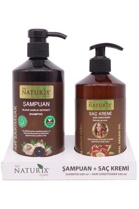 Naturix 2'li 600 ml Doğal Siyah Sarımsak Şampuanı Natural Şampuan 500 ml Argan Yağlı Saç Kremi