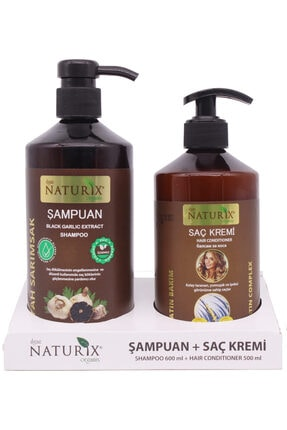 Naturix 2'li Siyah Sarımsak Özlü Şampuan 600 Ml Natural Şampuan + 500 Ml Doğal Keratin Bakım Saç Kremi