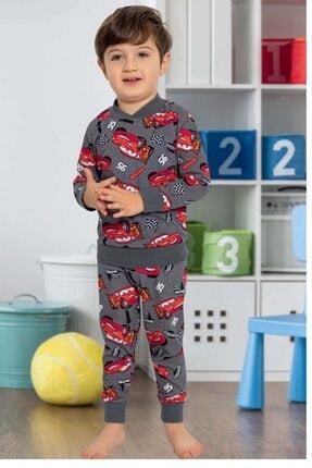IMER FASHION Erkek Çocuk Antrasit Arabalar Baskılı Pamuk Içerikli Pijama Takımı