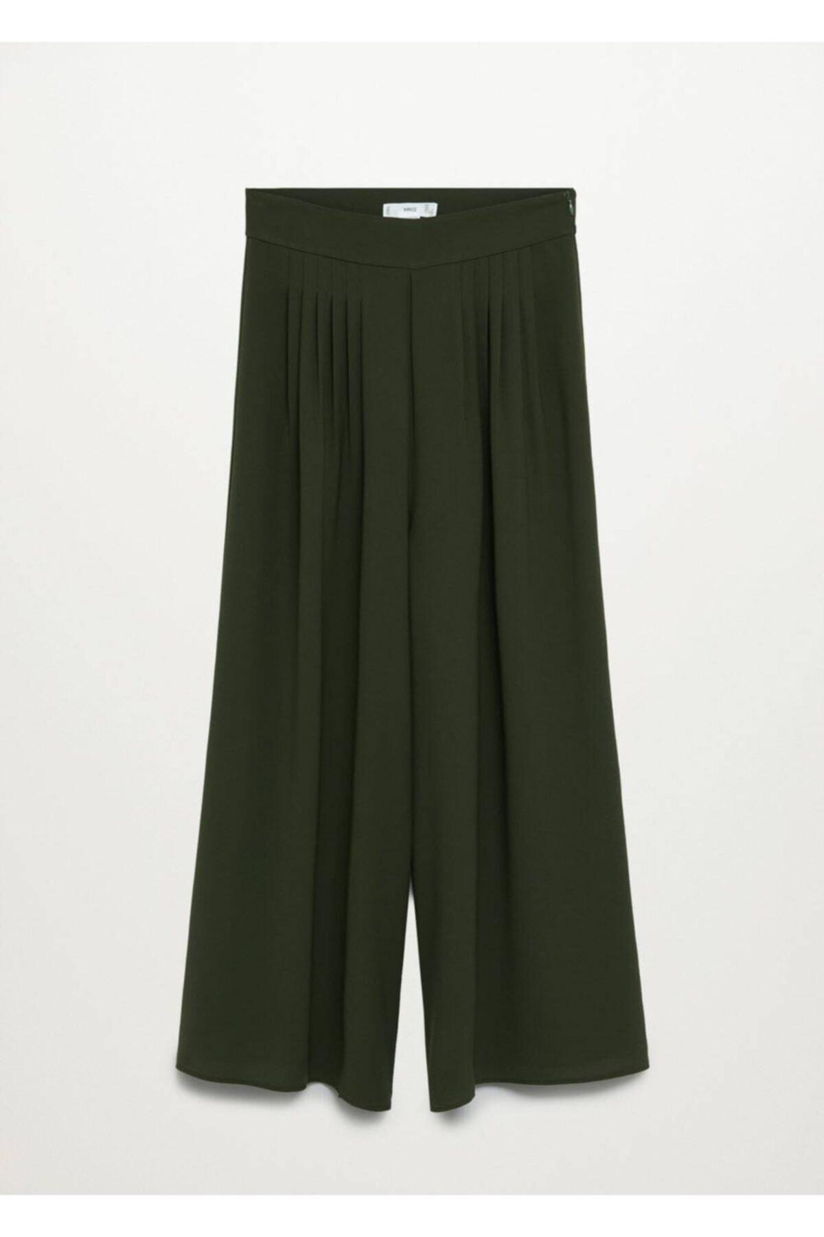 MANGO Woman Kadın Yeşil Pantolon 1