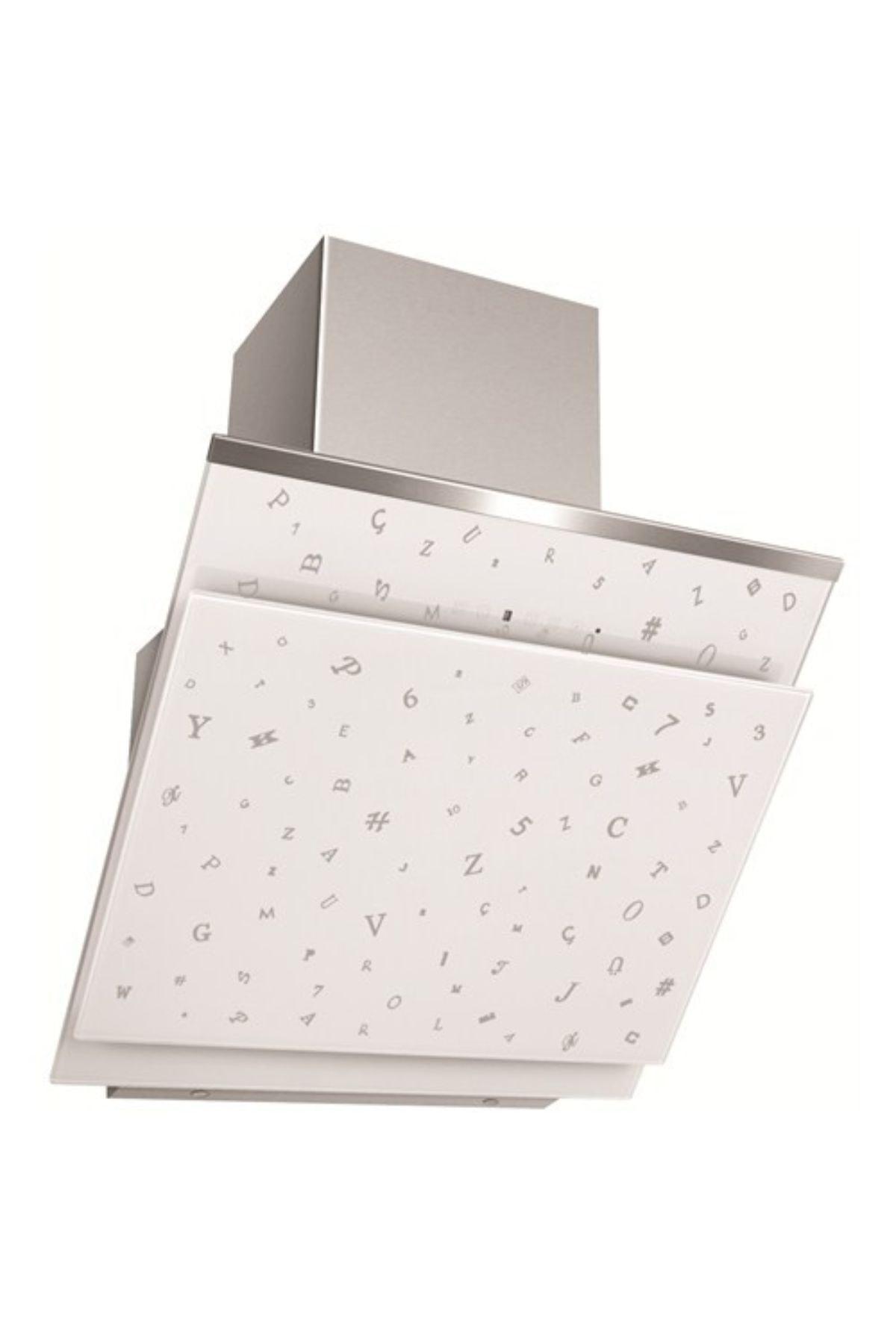 Simfer 8650 60 cm Parola Beyaz Eğik Cam Davlumbaz 1