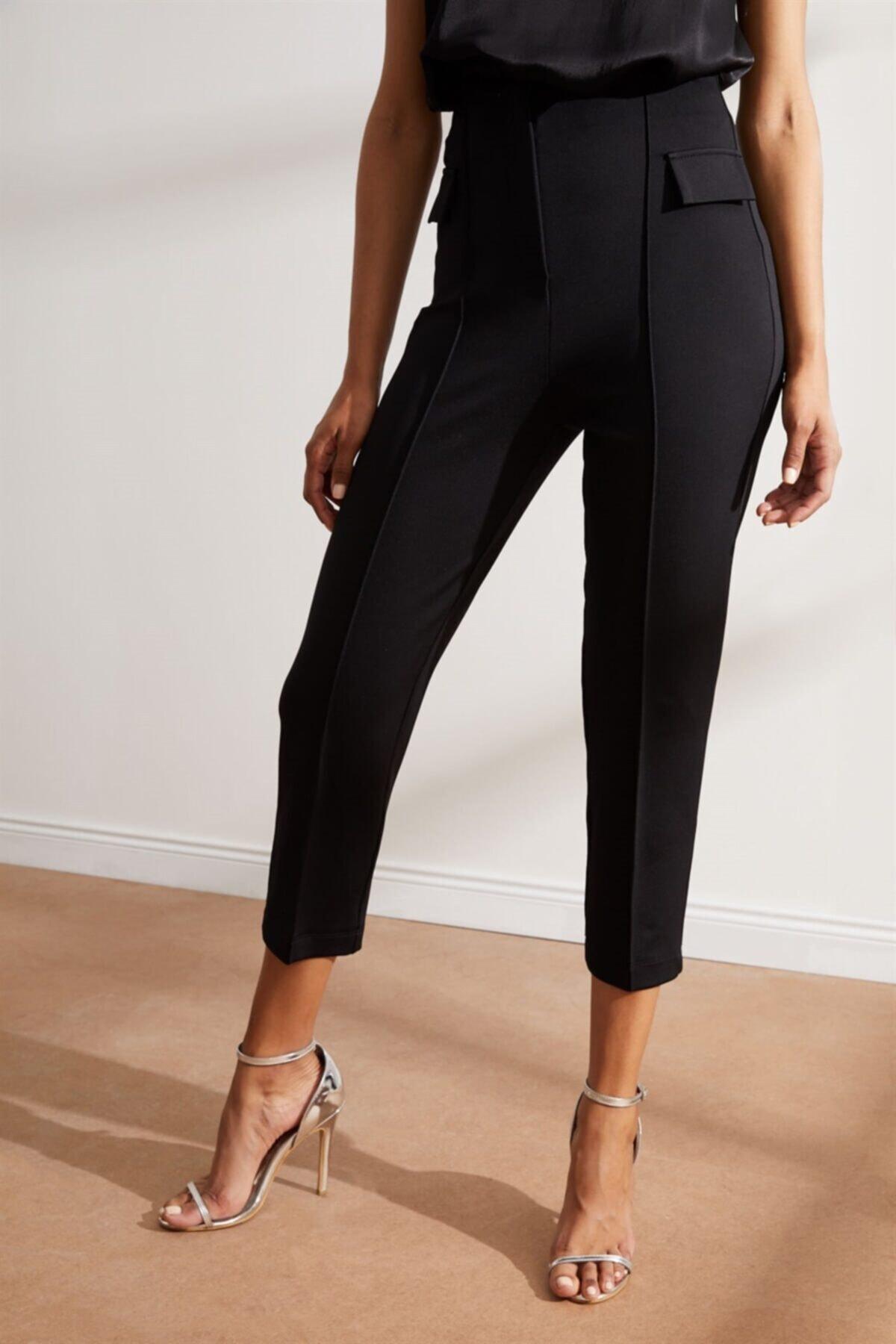Setre Kadın Siyah Yüksek Bel Kat Izli Kumaş Pantolon 2