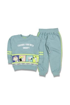 GG Bambino Unisex Çocuk Yeşil Snoopy 2 Parça Alt Üst Takım