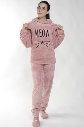 Pijamaevi Kadın Pembe Meow Desenli Tam Peluş Pijama Takımı