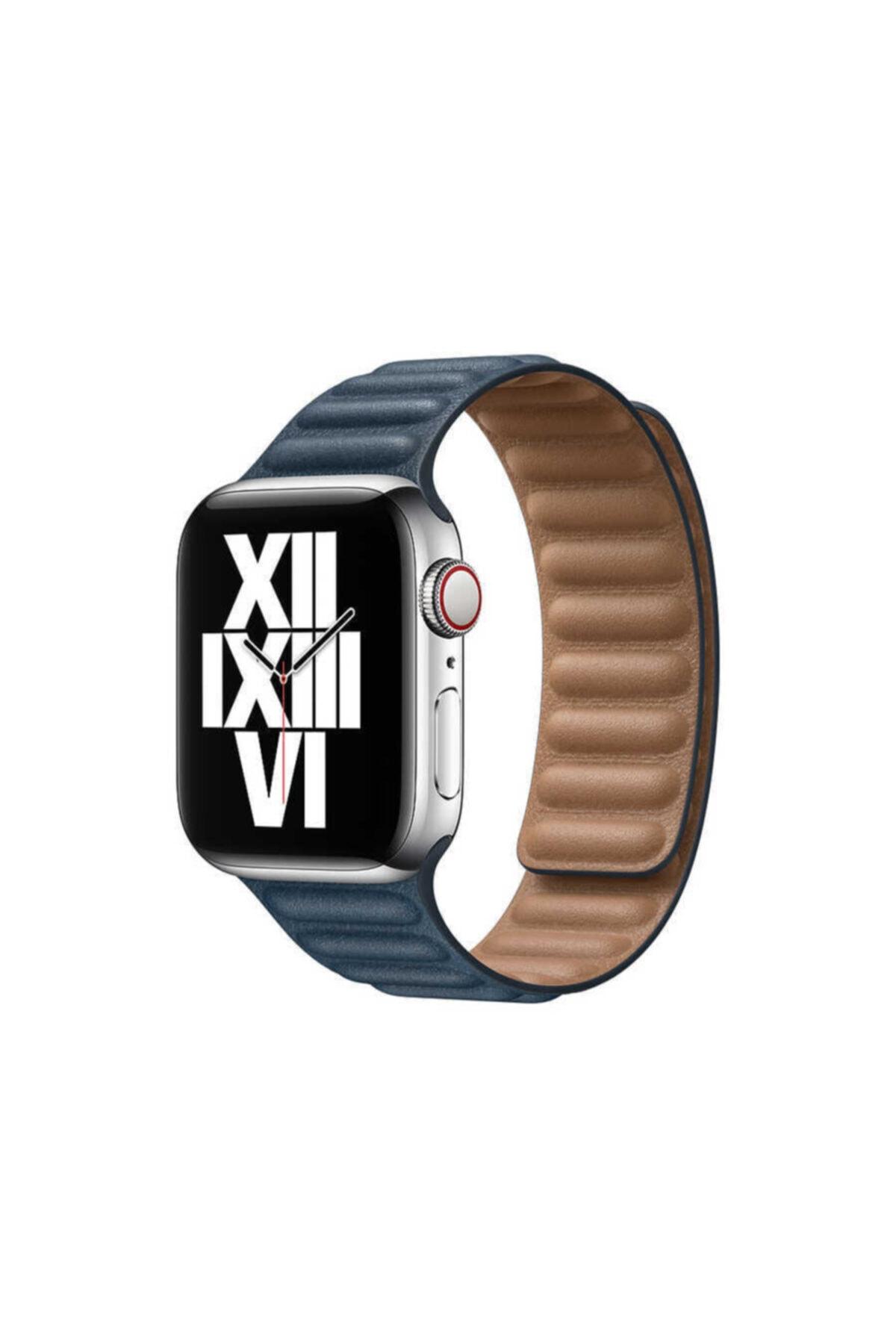 zore Apple Watch 1 2 3 4 5 6 Serisi 44mm Kordon Baklalı Model Mıknatıslı Deri Kayış Baltık Mavisi 1