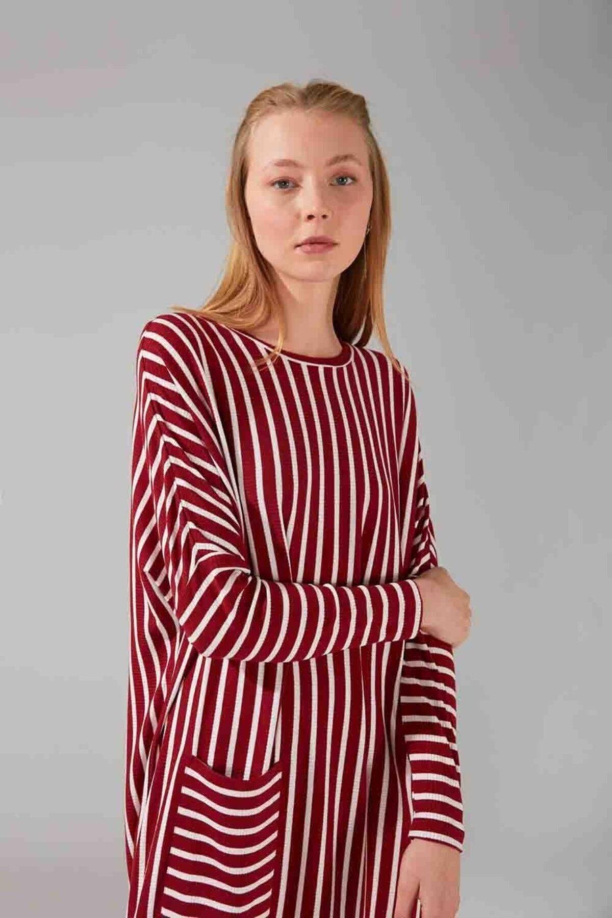 Mizalle Cep Detaylı Çizgili Elbise (Bordo) 2