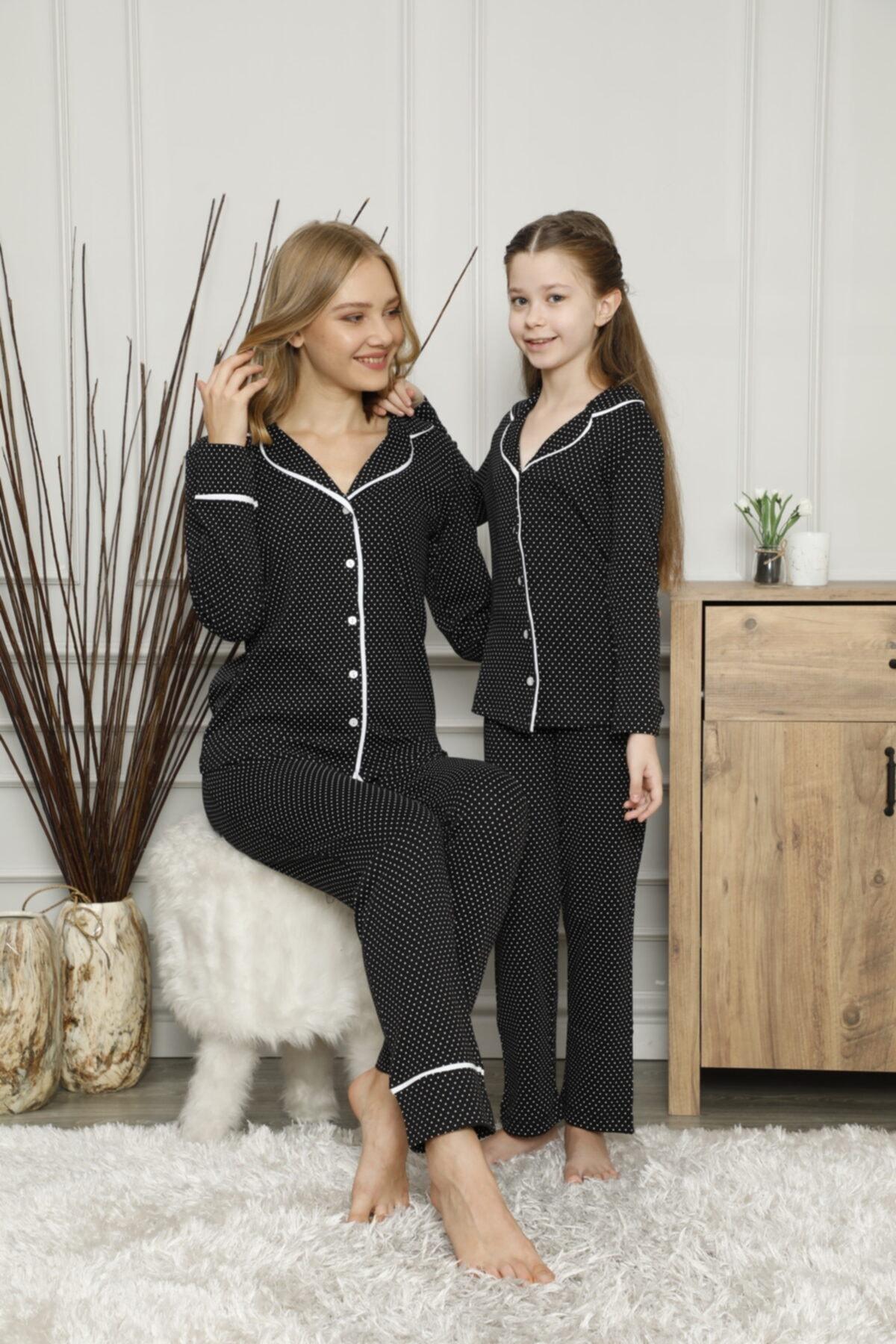 KILIÇ TEKSTİL Anne Kız Siyah Puantiyeli Pijama Takımı Kombini 2
