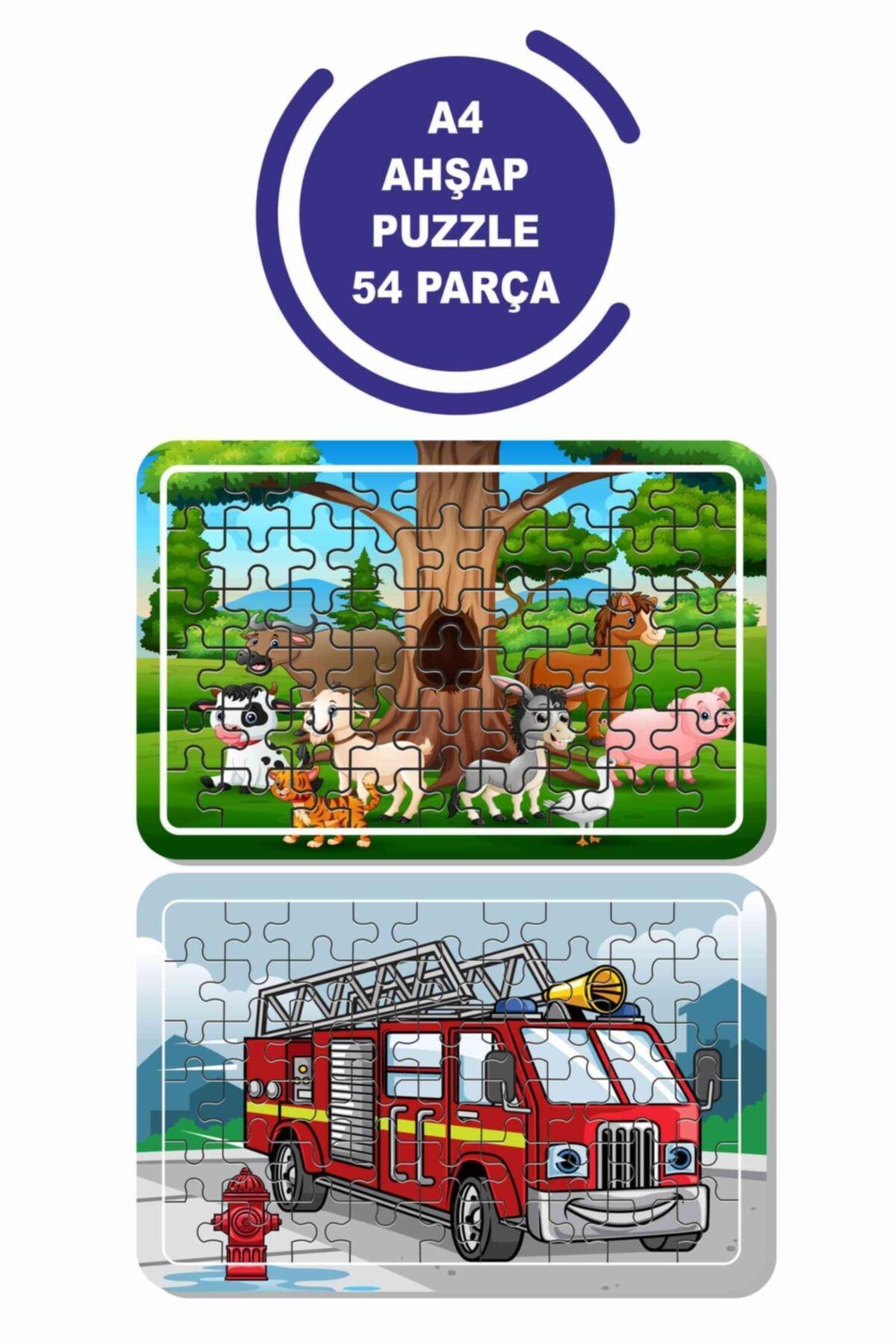 Baskı Atölyesi 2'li Set 54 Parça Ahşap Puzzle Sevimli Hayvanlar Ve Itfaiye Aracı Çocuklar Için 1