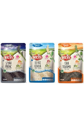 Reis Bakliyat Siyah Pirinç 500 gr + Beyaz Kınoa 500 gr +Chıa Tohumu 500 gr