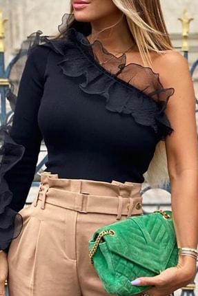 BLACK&GRACE Kadın Siyah Tek Omuzlu Organze Tül Detaylı Bluz