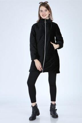 PORİENTO Kadın Siyah Uzun Kadife Mont - 2132