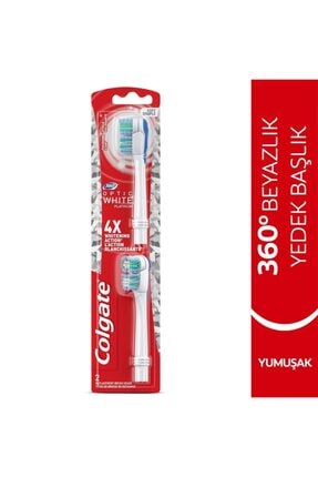 Colgate 360 Pilli Optik Beyaz Platinum Beyazlatıcı Yumuşak Diş Fırçası Yedek Başlık 1+1