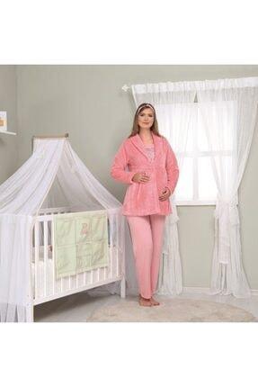 Haluk Bayram Kadın Somon Welsoft Sabahlıklı Lohusa 3'lü Pijama Takım