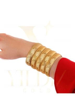 Yıldız Gold İmitasyon 22 Ayar Altın Kaplama 1.5 Cm Düz Çizgi Bilezik