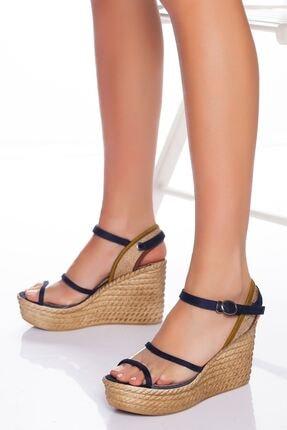 derithy Kadın Lacivert Süet Dolgu Topuklu Ayakkabı