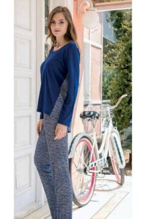Yeni İnci Kadın Lacivert Uzun Kollu Pijama Takımı