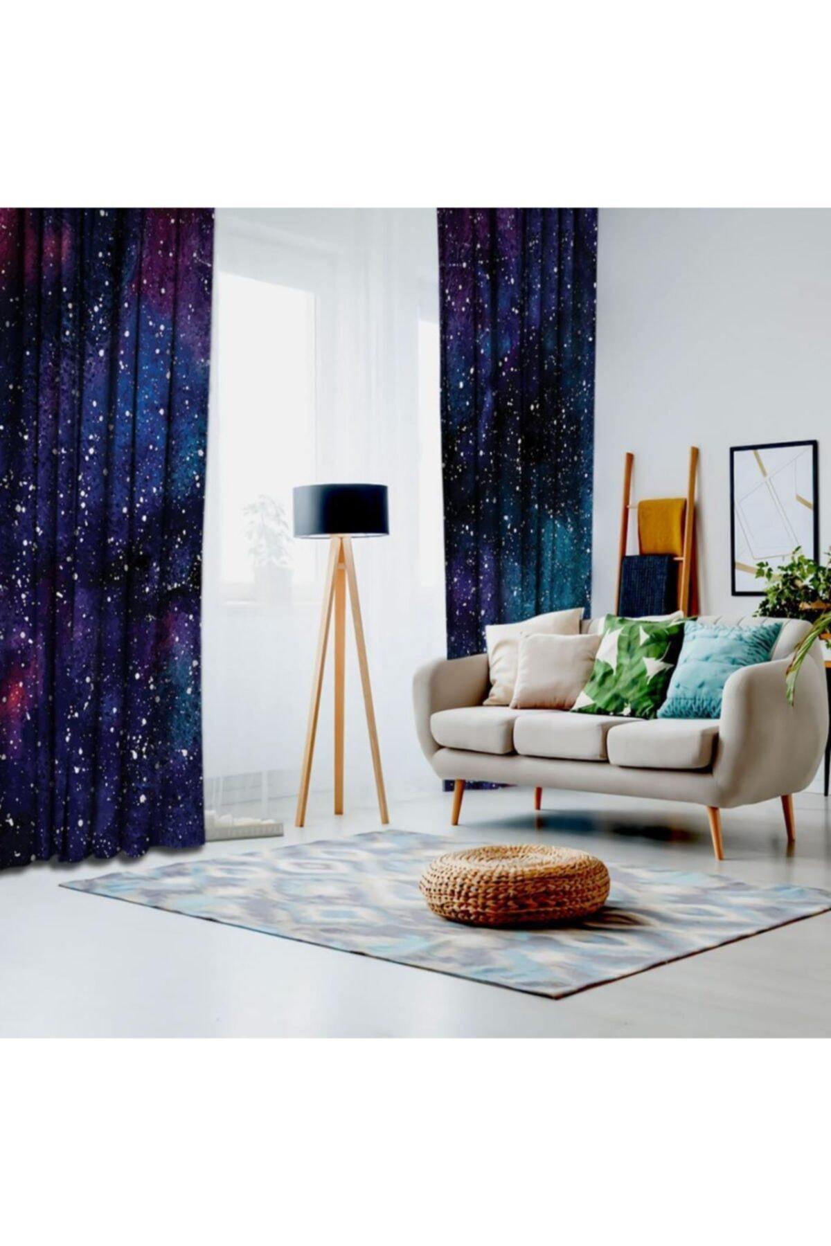 Henge Home Galaksi Yıldızlı Gökyüzü Desen Lacivert Mor Fon Perde 2