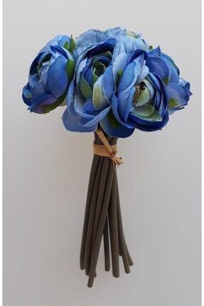 adresiYapayÇiçek 12 Dal Lüx Şakayık Gül Demeti 18,5 cm Mavi