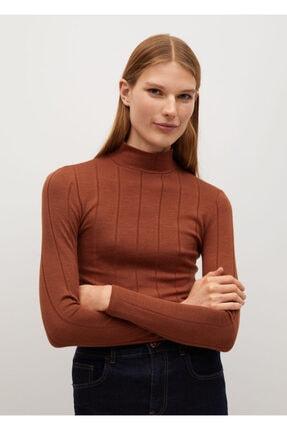 MANGO Woman Kadın Kahverengi Uzun Kollu Fitilli Tişört