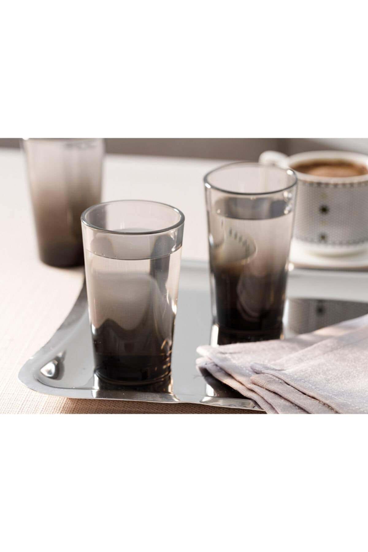 English Home Denise Cam 6'lı Kahve Yanı Su Bardağı 100 Ml Siyah 2
