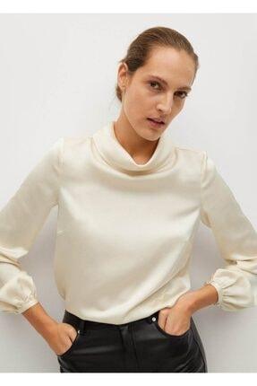 MANGO Woman Kadın Ekru Yüksek Yakalı Saten Bluz