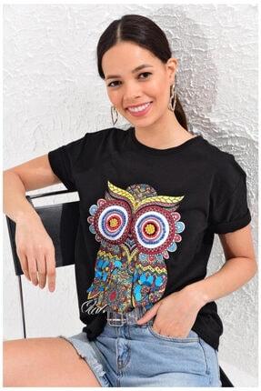 mix düet Kadın Siyah Baykuş Baskılı Payetli T-shirt