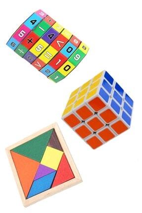 Hyd 3'lü Eğitici Oyuncak Seti Zeka Küpü Matematik Işlem Ve Ahşap Tangram Set