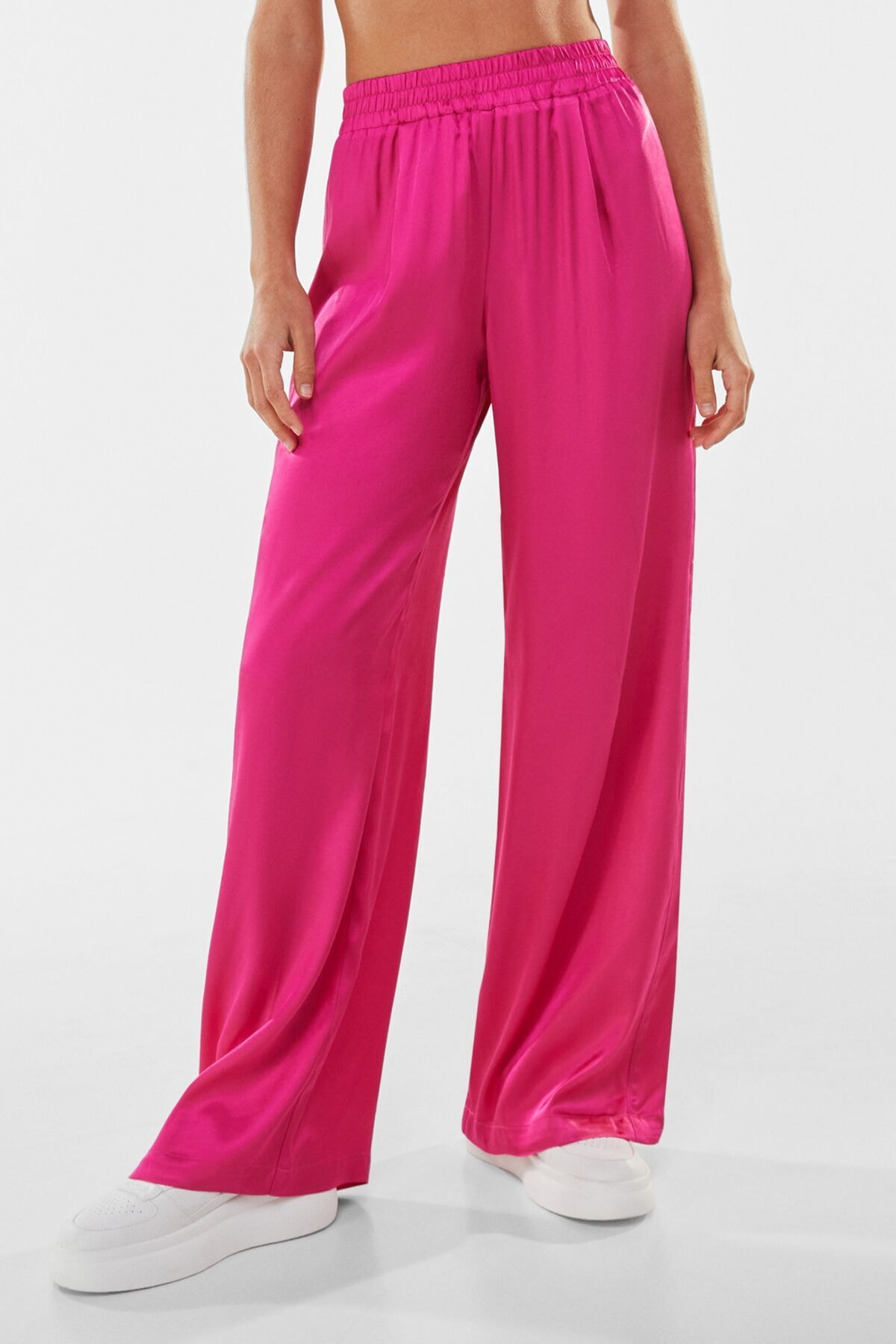 Bershka Kadın Pembe Wide Leg Saten Pantolon 00122200