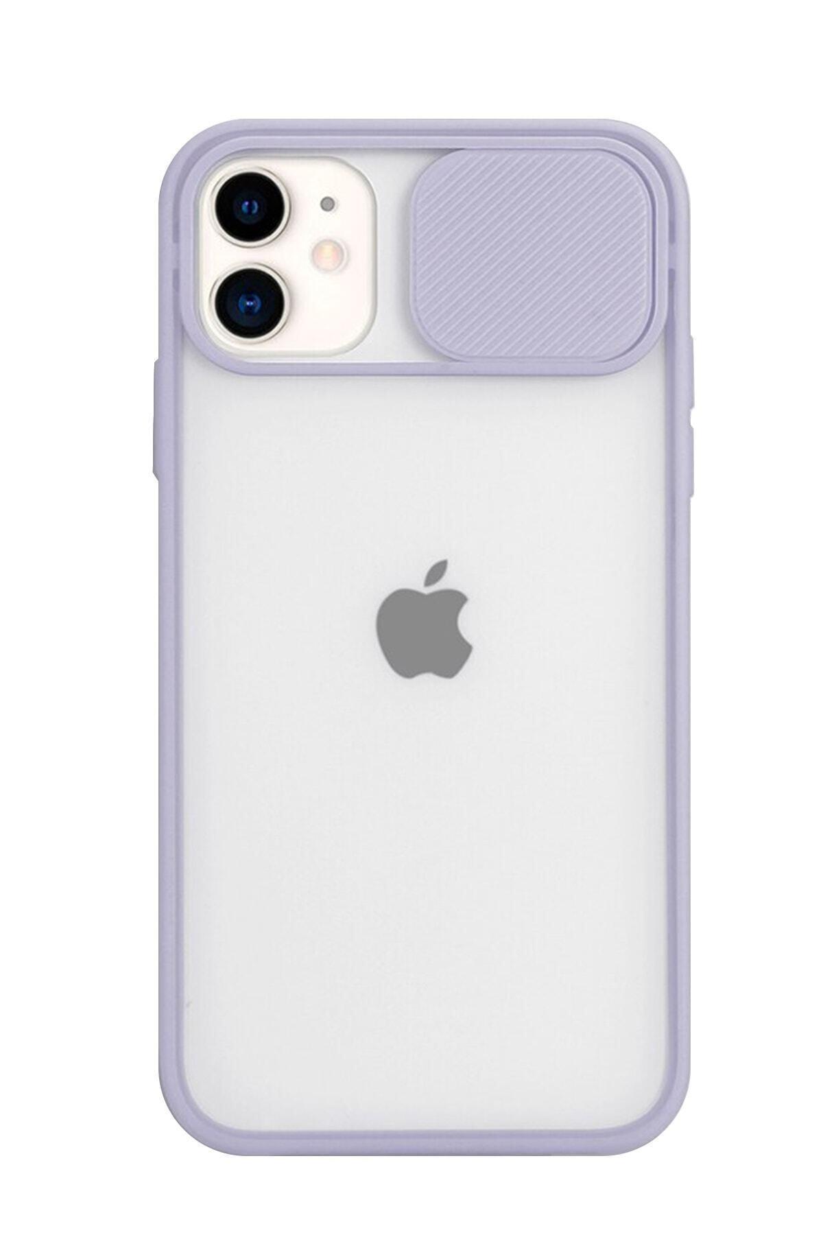 Muhteşempazar Iphone 11 Kamera Slayt Korumalı Lila Şeffaf Telefon Kılıfı 1