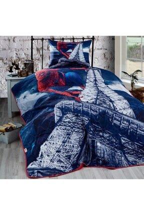 Tekstil Sepeti Mavi Tek Kişilik Kapitone Yatak Örtüsü