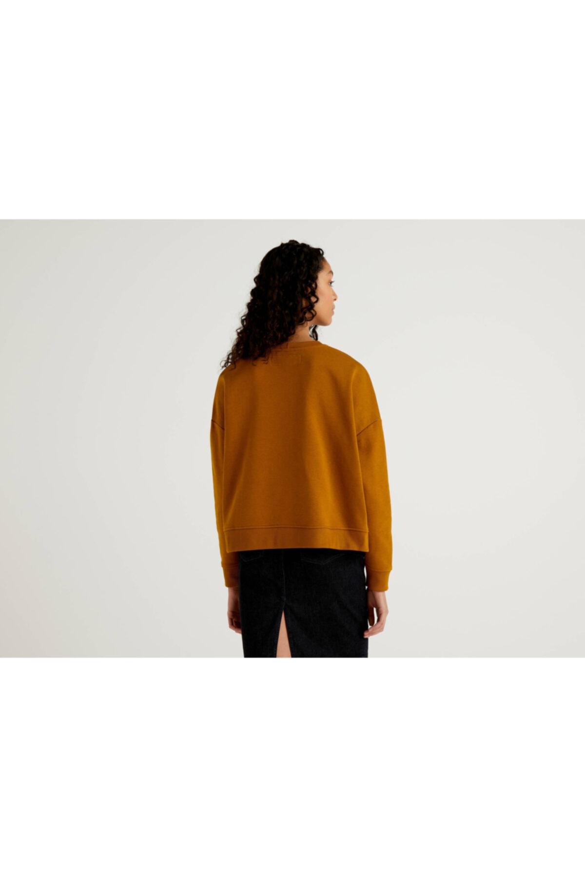 United Colors of Benetton Kadın Kahverengi Takma Cepli Sweatshirt 2