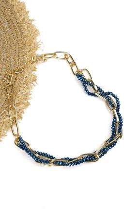 Marjin Kadın Altın Renkli Zincir Içerisinde Mavi Boncuklu Kolyemavi