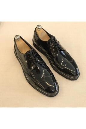 TerziAdemAltun Erkek Siyah İtalyan Stil Damatlık Rugan Ayakkabı T5168