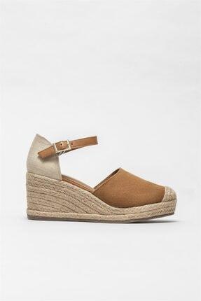 Elle Shoes Kadın Taba Deri Espadril