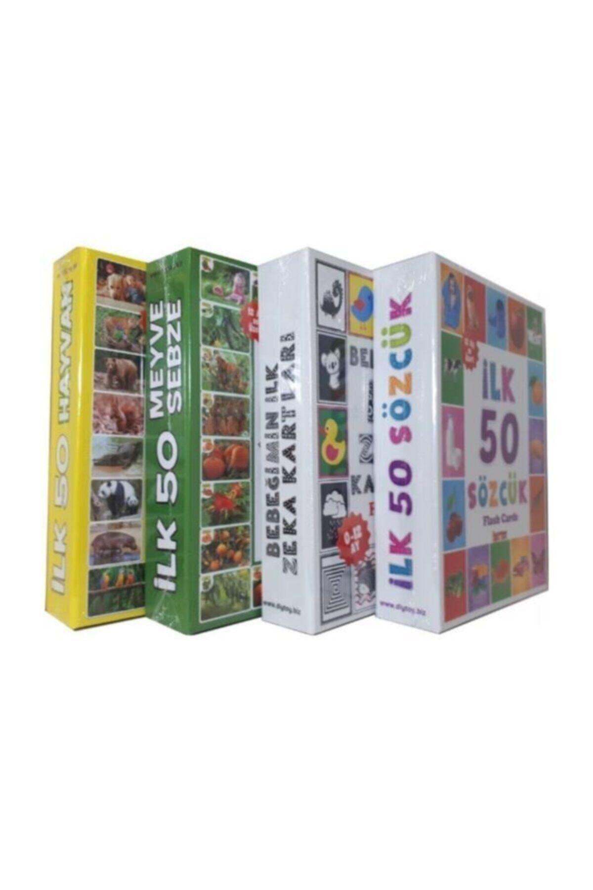 DIYTOY 4'lü Eğitim Seti - Ilk 50 Sözcük, Meyveler, Hayvanlar ve Bebeğimin Zeka Kartları 1