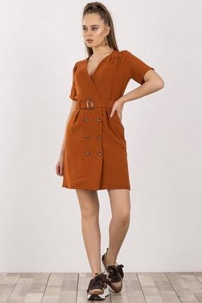 Arma Life Kruvaze Yaka Midi Elbise - Tarçın