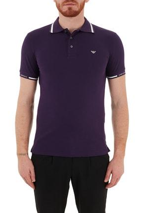 Emporio Armani Erkek Mor Düğmeli T-shirt
