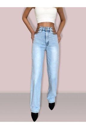Estyle Fashion Kadın Mavi Zincirli Tasarım Jeans Kot Pantolon