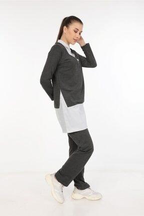 Womenice Kadın Antasit Gömlek Yaka Eşofman Takım
