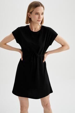 DeFacto Kadın Siyah Basic Beli Bağcıklı Elbise