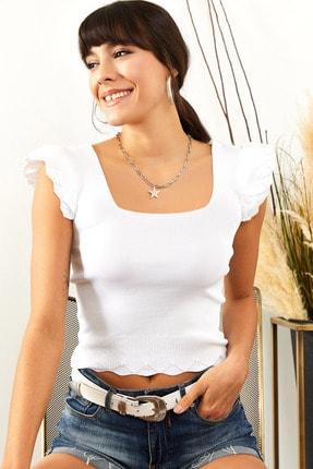 Olalook Kadın Ekru Kolu Fırfırlı Yazlık Triko Bluz BLZ-19001035