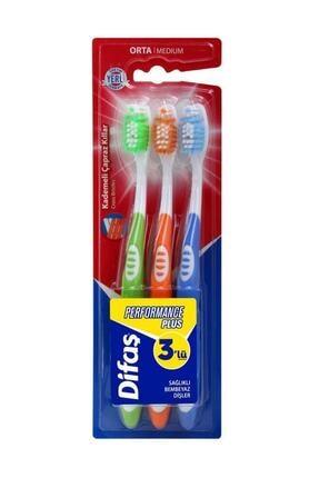 Difaş Performance Plus Diş Fırçası 3' Lü Ekonomik (Orta Sert)