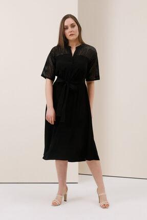 Gusto File Detaylı Elbise - Siyah