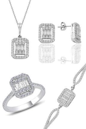 Söğütlü Silver Gümüş Rodyumlu Baget Taşlı Dörtlü Set