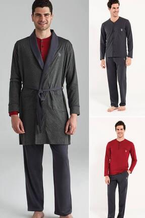 U.S. Polo Assn. Erkek Antrasit 2 Uzun Kollu Pijama + 1 Sabahlık