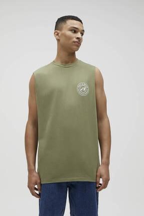 Pull & Bear Erkek Haki Kolsuz Logolu T-shirt