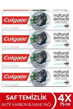 Colgate Natural Extracts Aktif Karbon Diş Macunu 75 Ml X 4 Adet